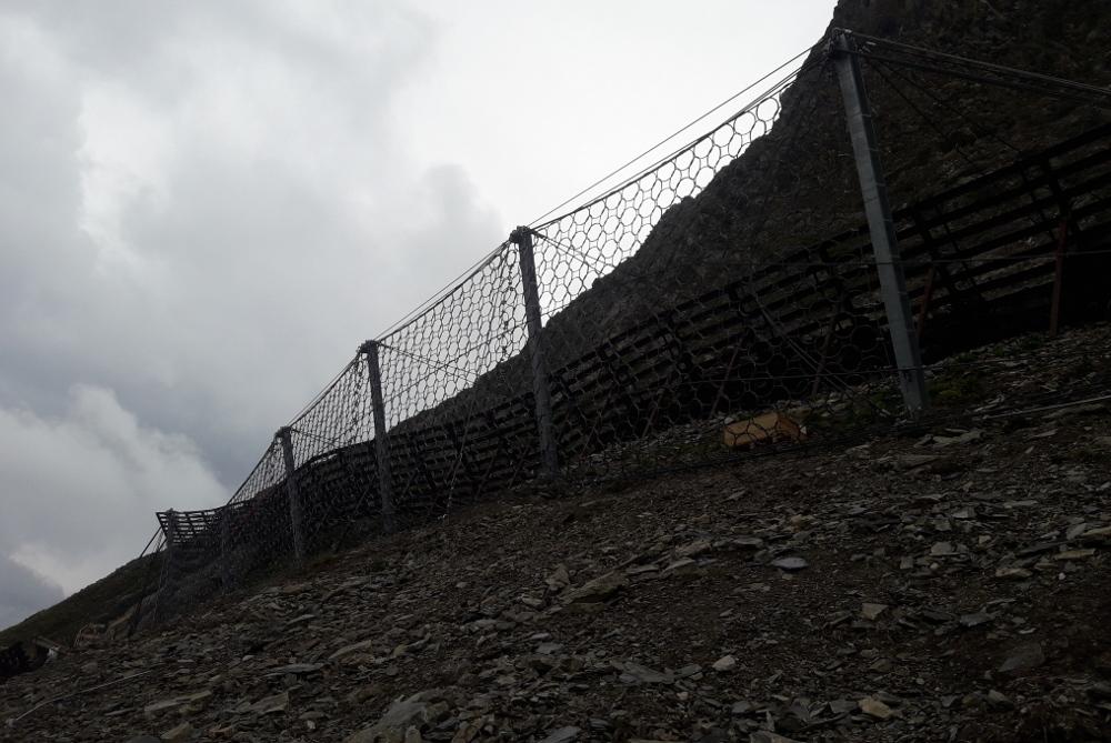 Sanierung der Lawinenverbauung Wartherhorn, Steinschlagschutz